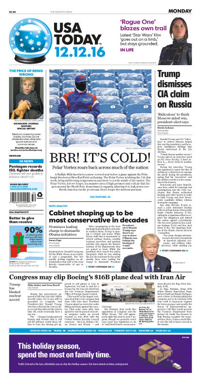 12/12/2016 Issue of USA TODAY