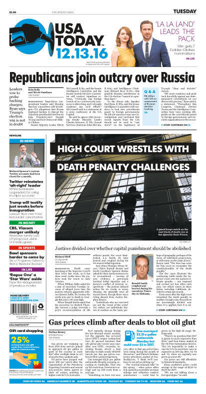 12/13/2016 Issue of USA TODAY