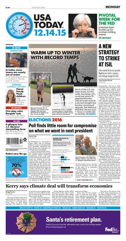 12/14/2015 Issue of USA TODAY