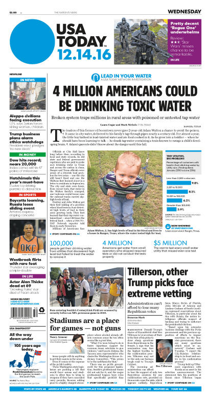 12/14/2016 Issue of USA TODAY