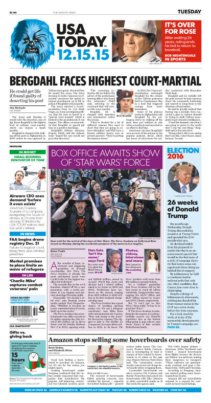 12/15/2015 Issue of USA TODAY