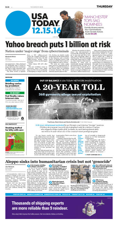 12/15/2016 Issue of USA TODAY