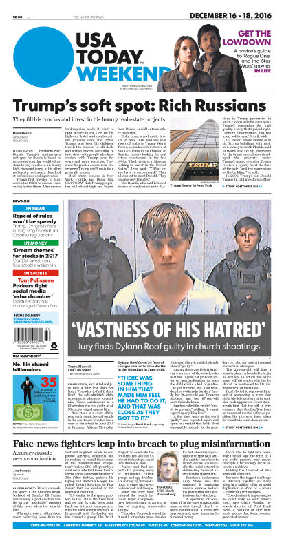 12/16/2016 Issue of USA TODAY
