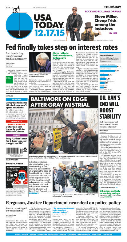 12/17/2015 Issue of USA TODAY