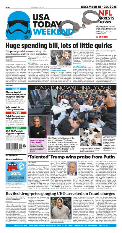 12/18/2015 Issue of USA TODAY