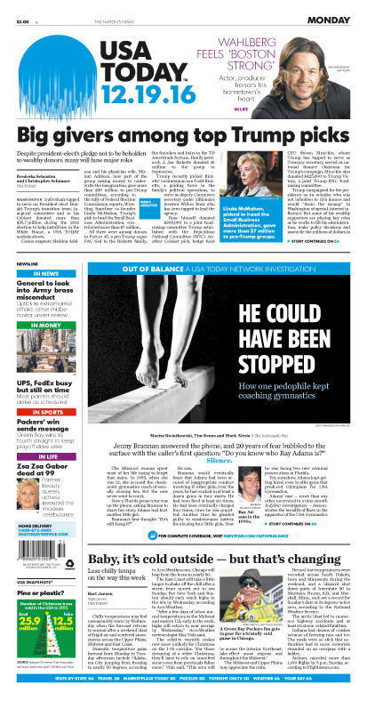 12/19/2016 Issue of USA TODAY MAIN