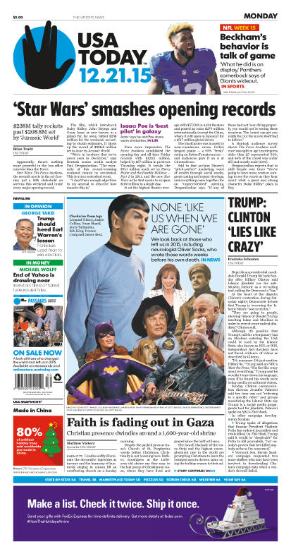 12/21/2015 Issue of USA TODAY