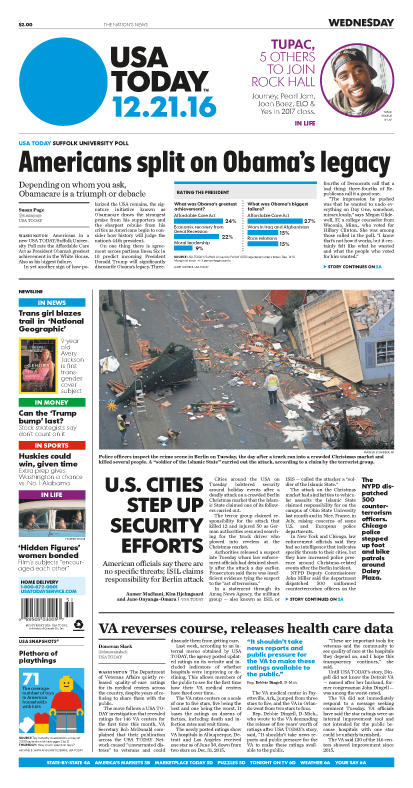 12/21/2016 Issue of USA TODAY
