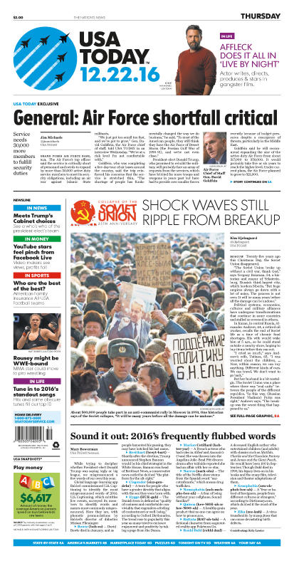 12/22/2016 Issue of USA TODAY