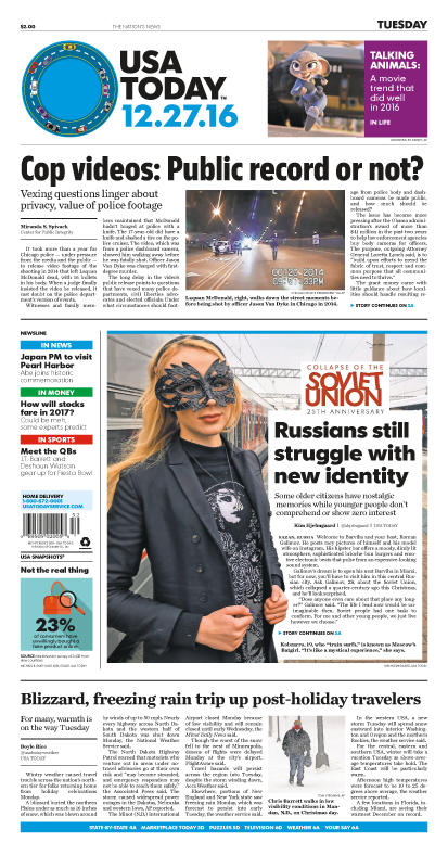 12/27/2016 Issue of USA TODAY_THUMBNAIL