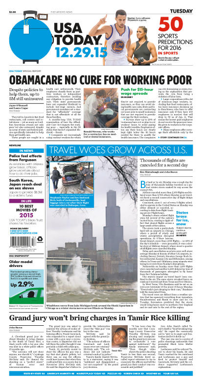 12/29/2015 Issue of USA TODAY