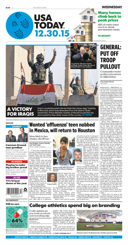12/30/2015 Issue of USA TODAY
