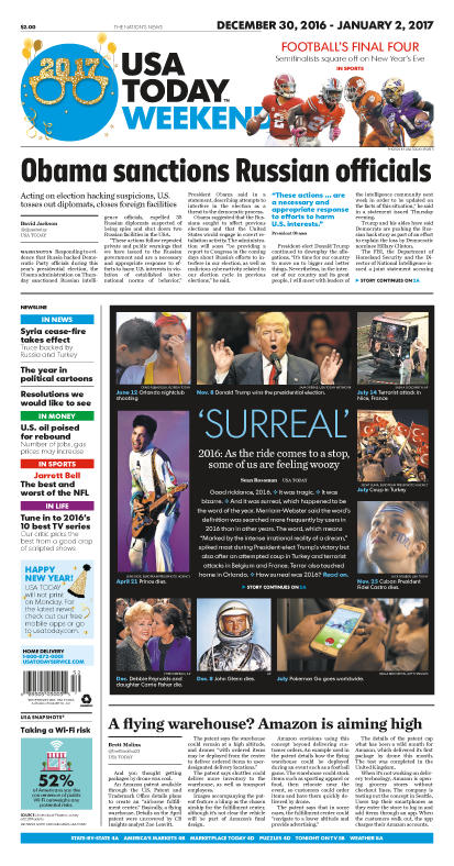 12/30/2016 Issue of USA TODAY