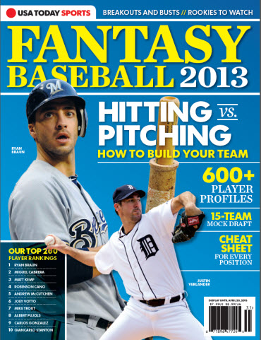 USAToday Fantasy Baseball 2013 - Ryan Braun Cover