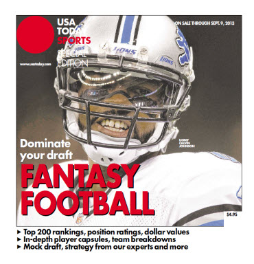 USA TODAY 2013 Fantasy Football Guide - Lions' Calvin Johnson Cover