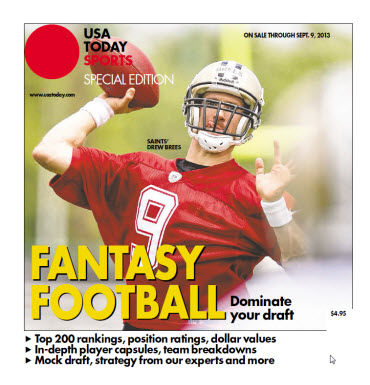 USA TODAY 2013 Fantasy Football Guide - Saints' Drew Brees Cover