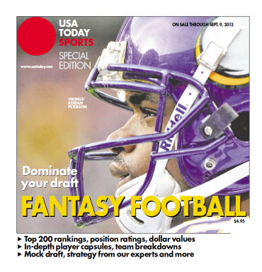 USA TODAY 2013 Fantasy Football Guide - National Edition - Vikings' Adrian Peterson Cover
