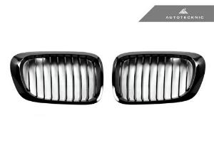 AUTOTECKNIC REPLACEMENT GLAZING BLACK FRONT GRILLES - E46 3-SERIES COUPE PRE-FACELIFT