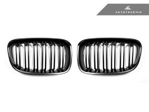 AUTOTECKNIC REPLACEMENT DUAL-SLATS STEALTH BLACK FRONT GRILLES - F20 1-SERIES LARGE