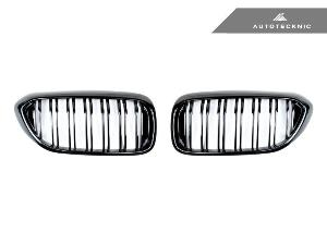 AUTOTECKNIC REPLACEMENT DUAL-SLATS GLAZING BLACK FRONT GRILLES - G30 5-SERIES_LARGE