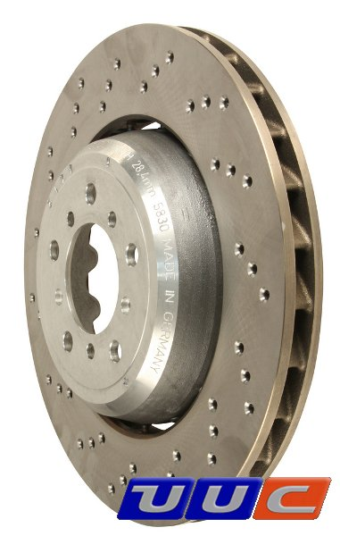 FRONT pair of OE-type DRILLED & FLOATING replacement brake rotors - 34 11 2 283 801/2 THUMBNAIL