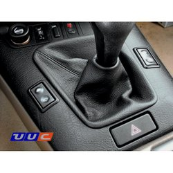 Shifter and parking brake boot - black leather with black stitching for E36