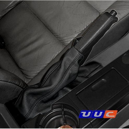 Parking brake boot - black leather with black stitching for E46 (all models) THUMBNAIL