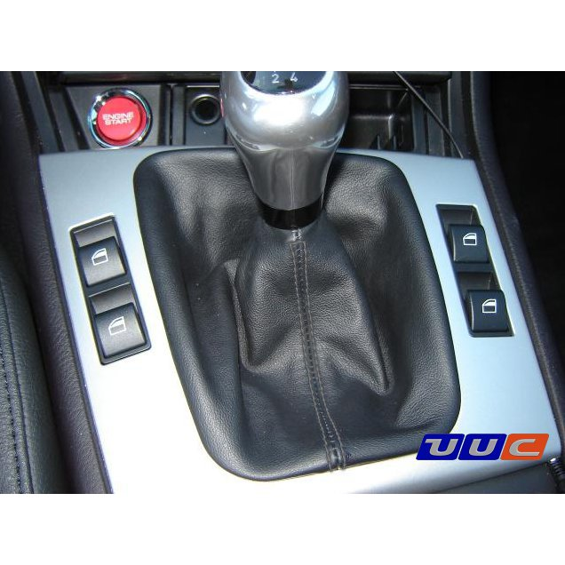 Shift and parking brake boot - black leather with black stitching for E46 manual transmission