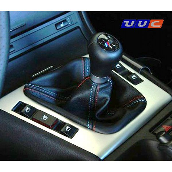 Shift boot - black leather with tricolor stitching for E46 manual transmission