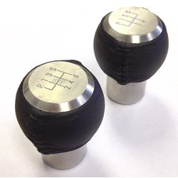 RK7A-L height-adjustable shift knob with leather covering and engraved shift pattern_LARGE