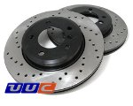 REAR pair of OE-type DRILLED/plated replacement brake rotors - 34 21 2 227 177/8