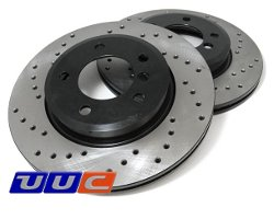 FRONT pair of OE-type DRILLED replacement brake rotors - 34 11 2 229 529/30 LARGE