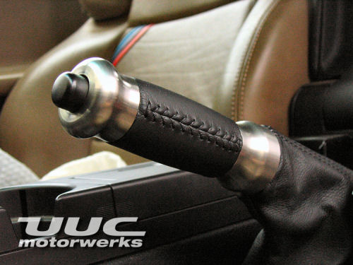 Leather-covered e-brake handle - ALUMINUM - matches RK6A-L_ALUMINUM shift knob
