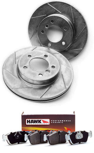 FRONT pair of OE-type slotted/plated replacement brake rotors - 34 11 1 164 539-1532