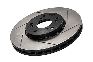 FRONT pair of OE-type SLOTTED & PLATED replacement brake rotors - 34 11 6 855 000 THUMBNAIL