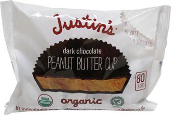 Justin's Organic Dark Chocolate Peanut Butter Cups 10 Piece Snack Bag