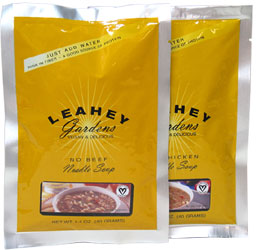 Leahey Gardens Vegan No-Chicken and Beef Noodle and Rice Soups