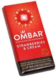 Ombar Organic Raw Chocolate Bar with Strawberries & Coconut Cream