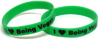 """I Love Being Vegan"" Wristbands"