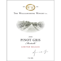 2018 Monticello Pinot Gris, Limited Release THUMBNAIL