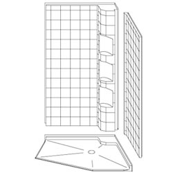 "42"" x 42"" Barrier-Free Accessible Neo-Angle Shower Unit .75"" Beveled Entry & Caddy LARGE"