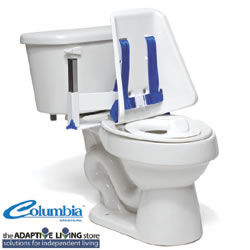Hi-back toilet support featuring an orthopedic-contoured back and belts to aid and support individuals with disabilities