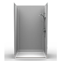"48"" x 36"" Transfer Shower .75"" Beveled Entry, Subway Tile, Front Trench Drain_MAIN"