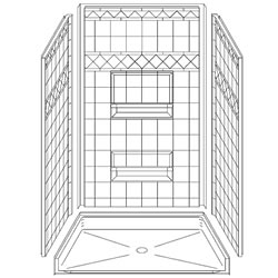 "48"" x 34"" Barrier-Free Accessible Shower Unit .75"" Beveled Entry & Shelves LARGE"
