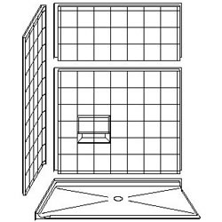 "4LESC6036B75B Best Bath 60"" x 36"" Barrier Free Corner 8"" Tile Shower with Beveled 3/4"" Threshold and Center Drain"