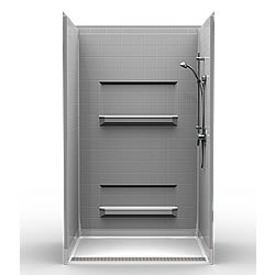 "48"" x 36"" Transfer Shower .75"" Beveled Entry, Shelves, Front Trench Drain_MAIN"