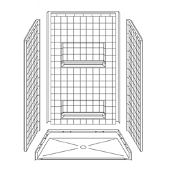 "48"" x 34"" Barrier-Free Accessible Shower Unit .5"" Beveled Entry & Shelves_MAIN"