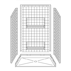 "48"" x 34"" Barrier-Free Accessible Shower Unit .5"" Threshold & Shelves LARGE"
