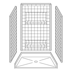 "42"" x 36"" Barrier-Free Accessible Shower Unit .5"" Threshold & Shelves LARGE"