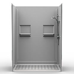 "60"" x 36"" Barrier Free Shower 1"" Beveled Entry, Shelves, Subway Tile, Front Trench Drain LARGE"